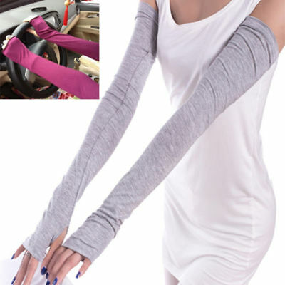 Pair of Soft Stretchy Long Sleeve Fingerless Gloves Cashmere Arm Warmers Sleeve!