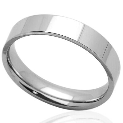 Men Women Fashion 5MM Comfort Fit Stainless Steel Wedding Band Classic Flat Ring