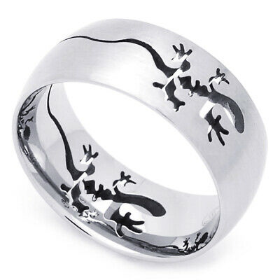 Men Women Fashion 9MM Stainless Steel Cut-Out Lizard Comfort Fit Band Ring