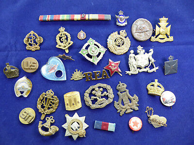 Bulk Lot of WW1 and WW2 Military BADGES