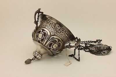 Antique Original Silver  Old Istanbul Ottoman Baby Decorated Amazing Candle