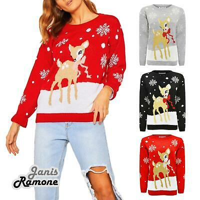 e4c8c082 NEW LADIES GIRLS Xmas Baby Deer Bambi Print Christmas Novelty Jumper ...