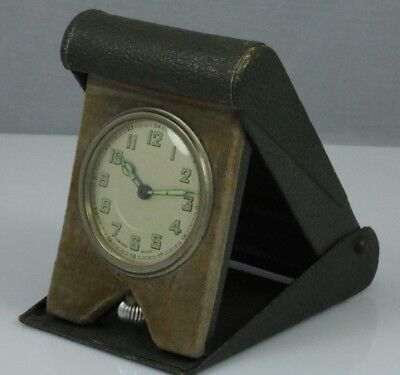 Vintage green rexine military traveling clock.24 hour dial.Swiss pocket watch.
