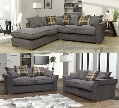 Fable Large Corner RH LH Sofa Grey-Charcoal Fabric Scatter 3 + 2 Seater Set