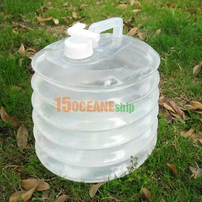 10L Camping Handle Collapsible Water Bucket Bottle Container Tap Storage #ORP