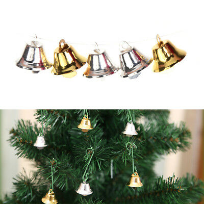 10 pcs Xmas Gold And Silver Beads Christmas Jingle Bells DIY Jewelry 2*2CM FT