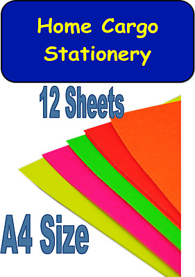 Assorted Flourescent Neon Bright A4 Display Card 12 Sheets for Crafts Coloured