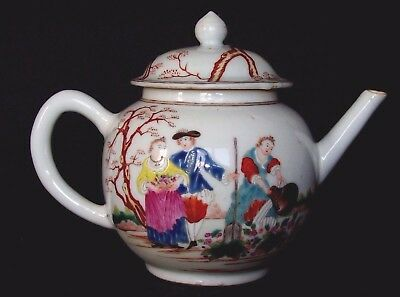 BEAUTIFUL CHINESE 18th C QIANLONG FAMILLE ROSE EUROPEAN FIGURES TEAPOT POT VASE