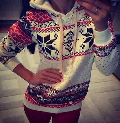 New Christmas UK Womens Long Sleeve Sweater Hoody Pullover Top Sweat Jumper Coat