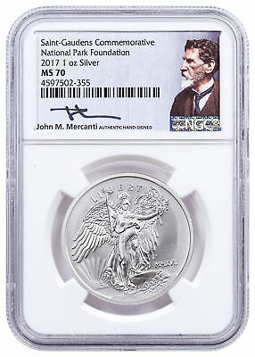 2017 Saint-Gaudens Winged Liberty 1 oz Silver Medal NGC MS70 Mercanti SKU49168