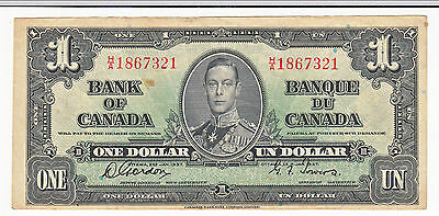 1937 Bank of Canada One Dollar Narrow Panel - HA1867321 - High Grade!