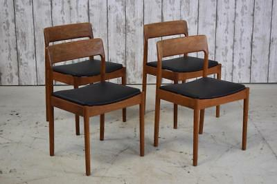Superb Set Of 4 Mid Century Danish Teak Kitchen Dining Chairs