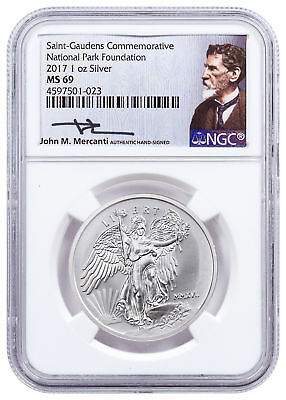 2017 Saint-Gaudens Winged Liberty 1 oz Silver Medal NGC MS69 Mercanti SKU49292