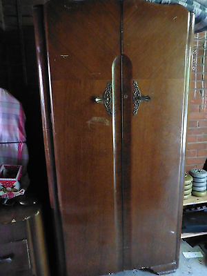 Vintage Wardrobe Solid Wood one of a pair. Smaller mens one