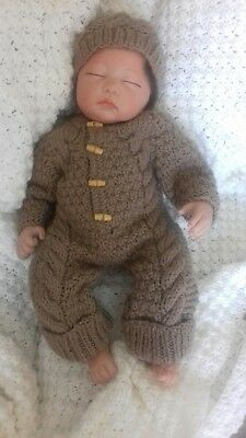 0-3months Hand knitted all in one coat and hat in brown for newborn babies.