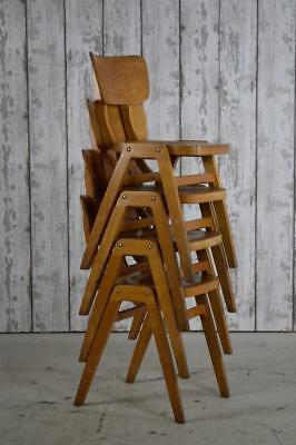 Set Of 4 Vintage Industrial Wooden 'Ben' Cafe Bar Kitchen Dining Chairs