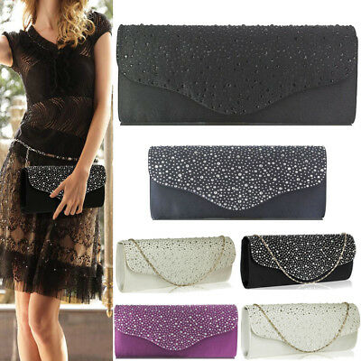 Womens Handbags Beaded Diamante Clutch Bags Ladies Evening Party Prom Bridal New