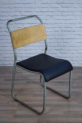 Set Of 4 Vintage Industrial Stacking Vinyl Cafe Bar Chairs