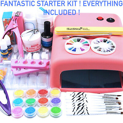 Gel nail starter kit with 36w UV lamp, all accessories included, nail art mani