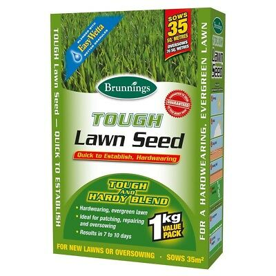 Brunnings Tough Lawn Seed for new lawns or oversowing, 500g, 1Kg, or 3Kg *AUST