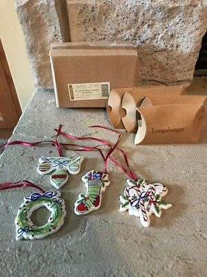Longaberger Set of 4 All the Trimmings Christmas Tree Ornaments Gift Tie-Ons