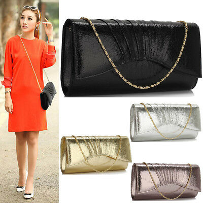 Women's Handbag Metallic Evening Prom Party Clutch Bag Wedding Purse UK New