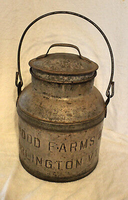 Vintage Metal Cream Milk Can With Handle Kenwood Farms Burlington Vermont D'y