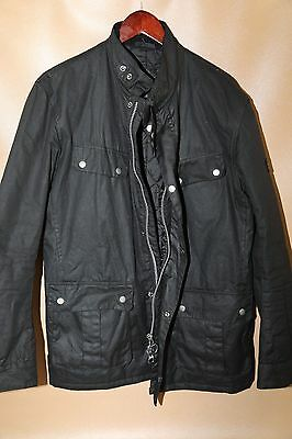 #49 Barbour Duke Waxed Cotton Jacket Size L BLACK  RETAIL $399