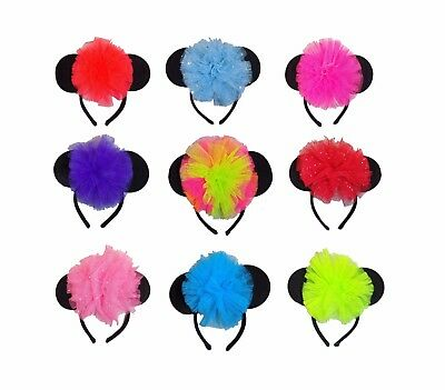 NEON Alice band Mouse Ears Headband I LOVE 80's Fancy Dress Hen Party Minnie