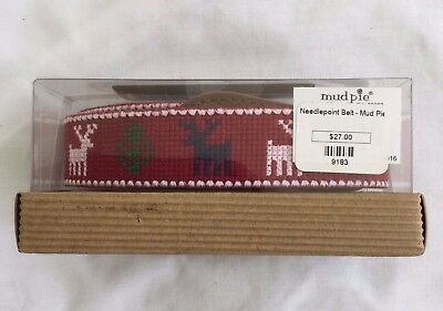 Mud Pie Toddler Belt Christmas Red & Green Needle Point/Leather NEW Size 2T-5T