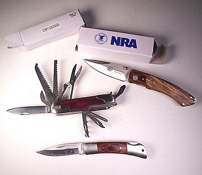 Lot 3 NRA Folding Knives 2 New In Box 1 Used Stone River Swiss Army Type Pocket