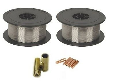 2 x Gasless (Flux Cored) MIG Welding Wire - 0.8mm 0.45Kg (MB14 Tips And Shrouds)