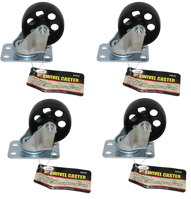 "IIT 3"" x 1"" Swivel Caster Wheel Set of 4 All Steel Wheels Mounting Plate 80840"