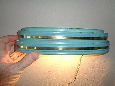 "Vintage Art Deco Electric Wall Mount Light Sconce Green Gold 11 1/2"" Works!"