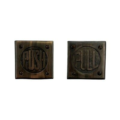 Bronze  Finish Brass Small PUSH & PULL Plates  Letters Commercial or Home Doors