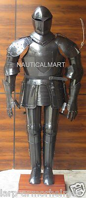 Full Size Medieval Knight Wearable Black Suit Of Armor Costume