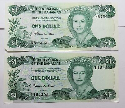 2 1974  One Dollar Central Bank Of The Bahamas
