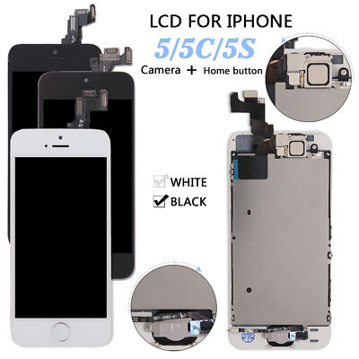 For iPhone 5 5c 5s LCD Touch Screen Digitizer Replacement + Home Button & Camera