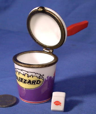 One Porcelain Hinged Box w/ D.Q. Napkin  Dairy Queen Blizzard  Small Jewelry Box