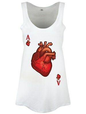 The Ace Of Hearts Floaty Women's White Vest