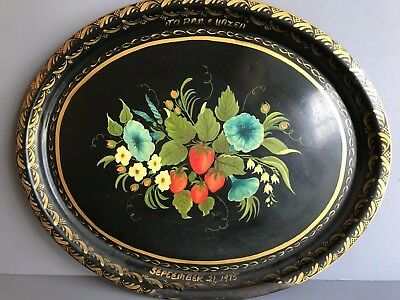 Vintage Oval Floral, Strawberry Tole Hand Painted Tray Signed