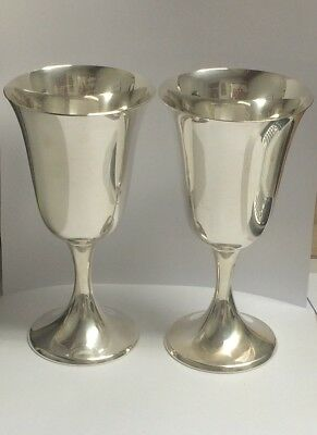 """2-9.25 sterling silver """"gorham goblets"""" 6:5"""" tall  excellent condtion"""
