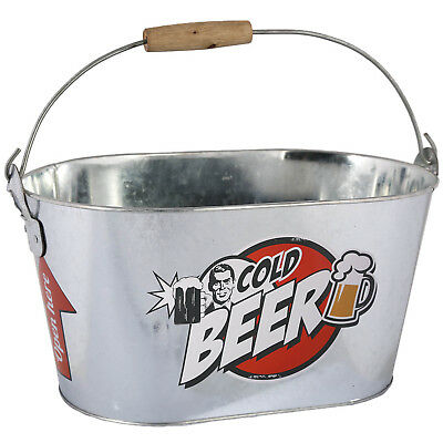 Large Metal Beer Cooler Cooling Ice Bucket Bottle Opener Drink Holder Container