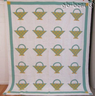 FARMHOUSE Baskets  c 1930s Yellow Green Vintage QUILT Lancaster County PA
