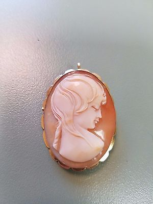 18k Solid Yellow Gold Cameo Brooch Pin Pendant 39mm x 29mm Fancy Lady Woman 5.5G