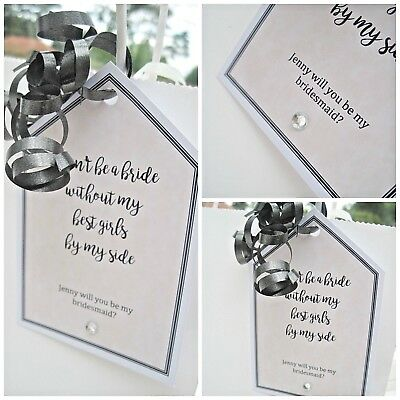 """Personalised """"Will you be my Bridesmaid"""" CREAM crystal gift tag WEDDING BRIDE"""