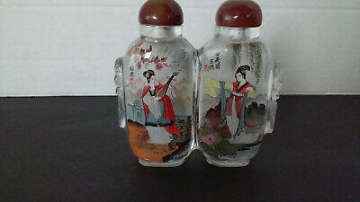 """Vintage Antique Oriental Reverse Painted Double Glass Snuff Bottle 3 1/2"""" Tall"""