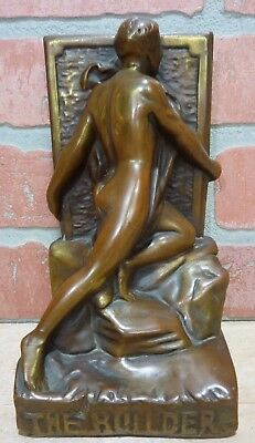 Antique Bronze Clad 'THE BUILDER' Nude Male Decorative Art Bookend Ornate Detail