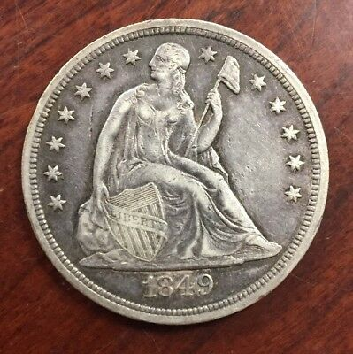 1849 $1 Seated Liberty Silver Dollar Early U.S. High Demand Collectible Coin