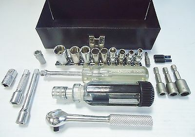 "22pc SAE & Metric Socket Ratchet Set w/ 1/4"" Dr. Storage Handle & Metal Case"